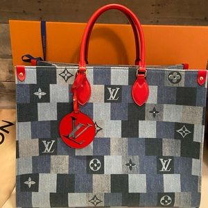 NEW! Louis Vuitton Denim Rouge Onthego GM